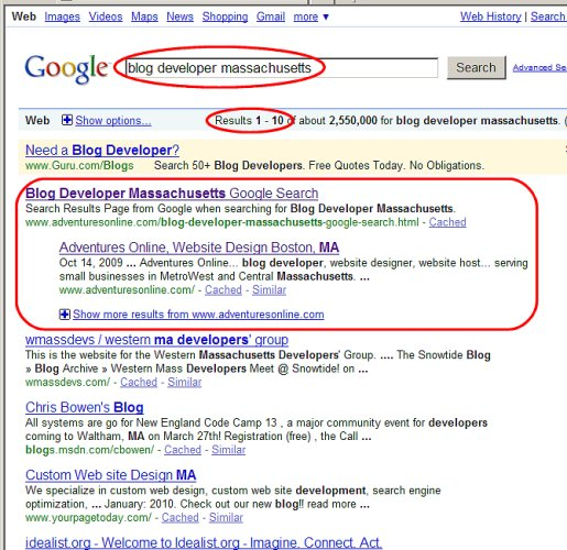 Adventures Online gets listed in first place on the first page of Google results for Blog Developer Massachusetts