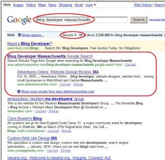 """Adventures Online is listed first in Google for """"Blog Developer Massachusetts"""""""