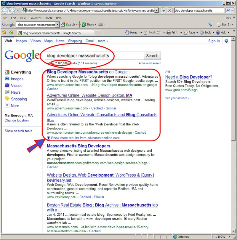 Adventures Online gets listed in the first three positions on the first page of Google results for Blog Developer Massachusetts
