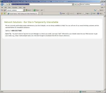 Network Solutions is Down