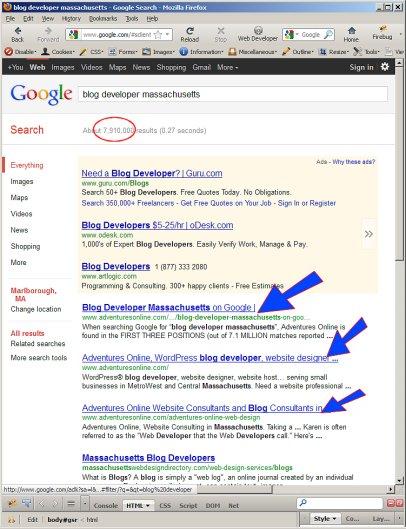 Google SERPs for Blog Developer Massachusetts on 2011-12-22