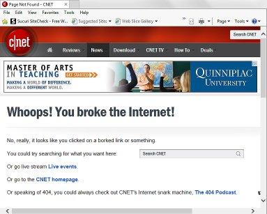 404 not found error page on cNet