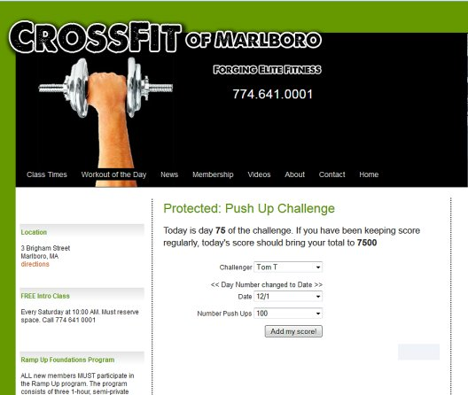 Password Protected contest data entry screen