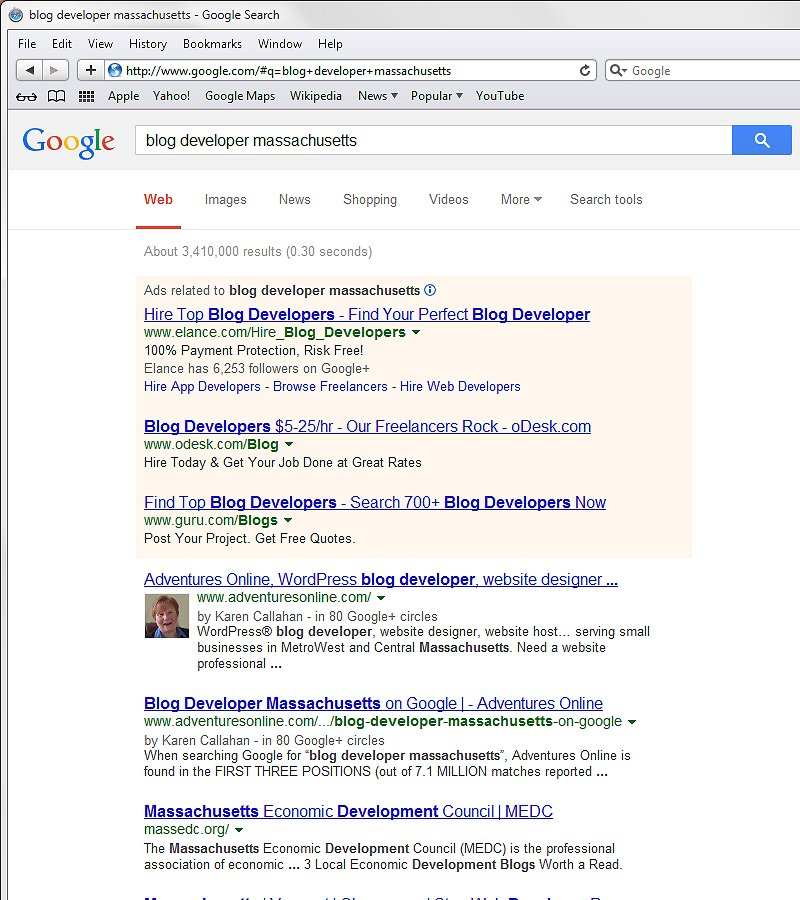 Adventures Online gets listed in the first two positions on the first page of Google results for Blog Developer Massachusetts