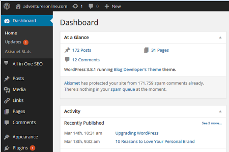 WordPress dashboard in version 3.8.1