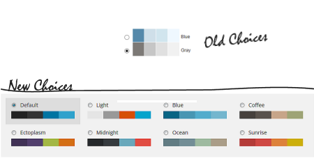 WordPress dashboard color schemes