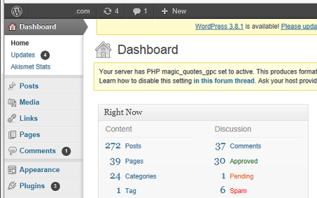 WordPress dashboard in earlier 3.x versions