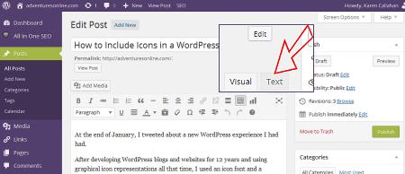 Text mode in WordPress