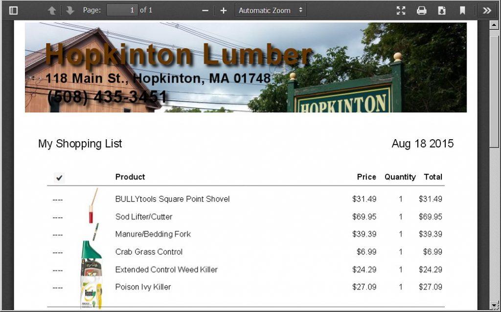Shopping List PDF