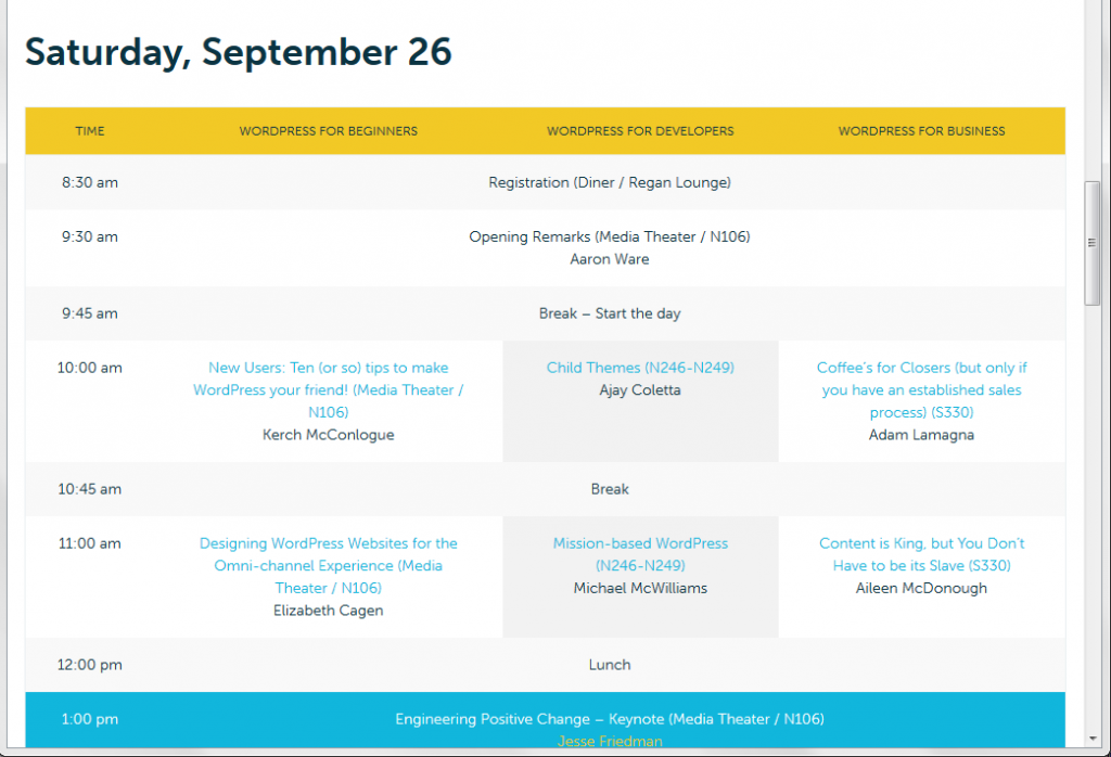 2015 WordCamp RI schedule