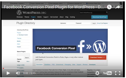 Facebook Conversion Pixel plugin video