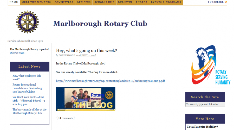 New WordPress website for local Rotary club in the works