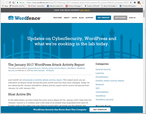 Wordfence security report
