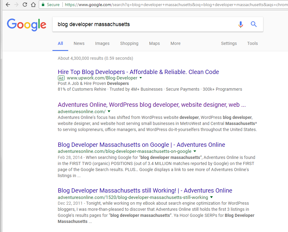 Blog Developer Massachusetts still Works - Adventures Online