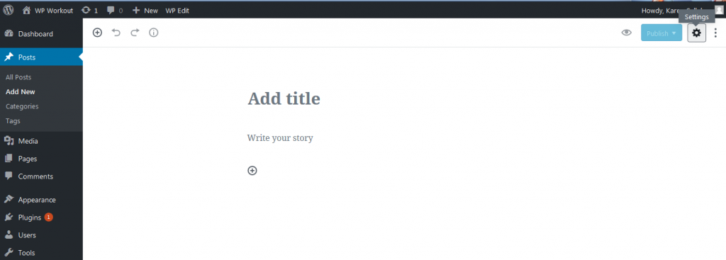 WordPress Gutenberg screen shot