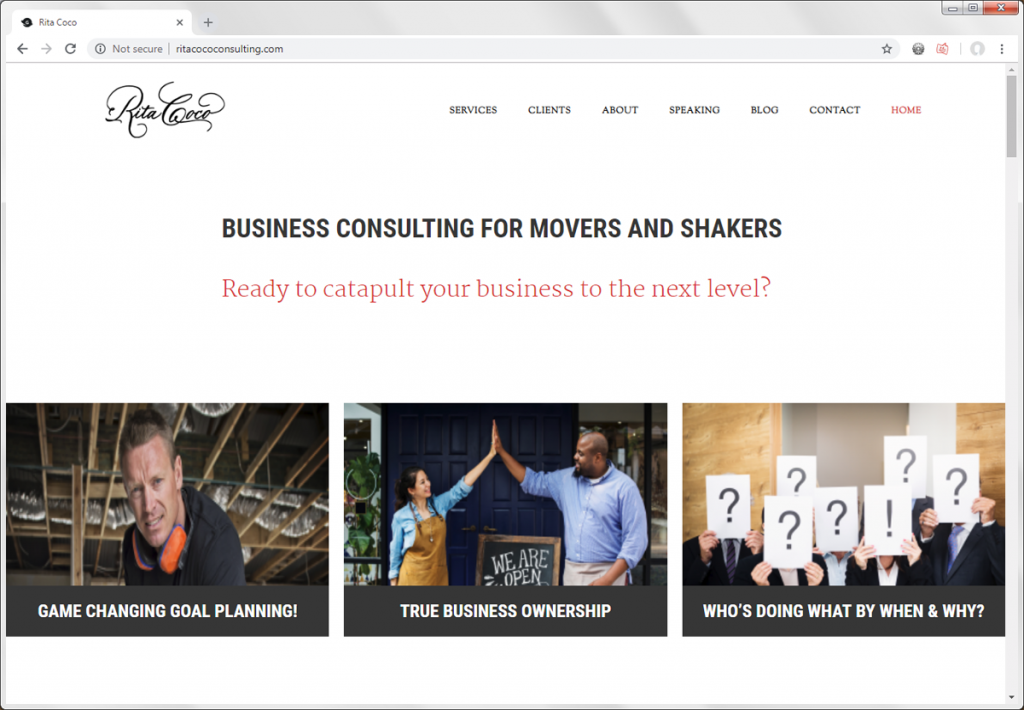 website home page for rita coco consulting
