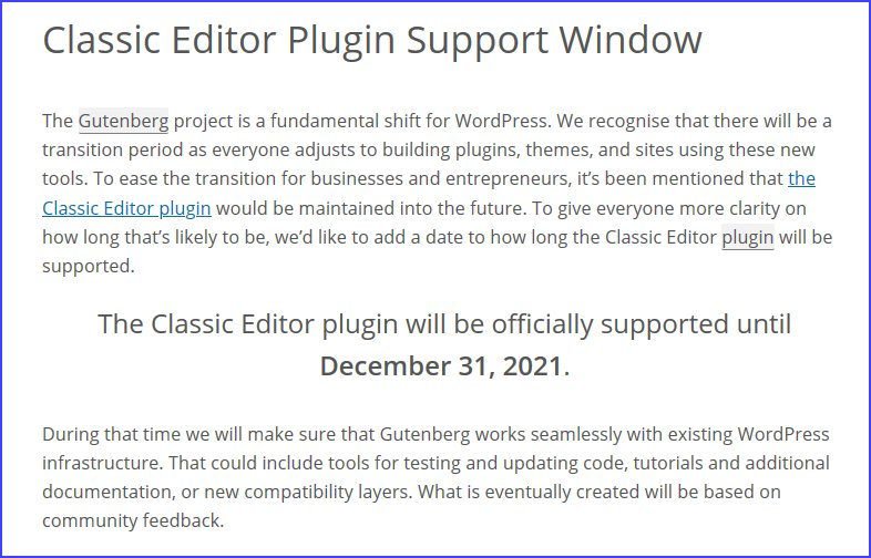 Support for WordPress classic editor